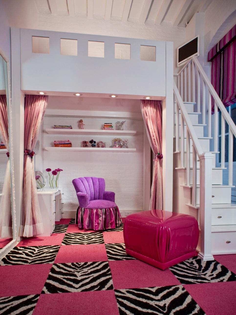 luxury bedroom furniture purple elements. Luxurious Elements Fill This Little Girl\u0027s Room, From The Purple Velvet Chair To Plush Pink-and-zebra-print Carpet Tiles. Luxury Bedroom Furniture